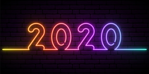 2020 new year neon effect.