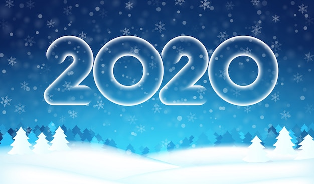 2020 new year number text banner, winter tree forest, blue sky, snowflakes, snow background.