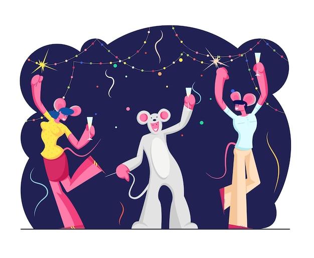 2020 신년 파티 축하. 만화 평면 그림