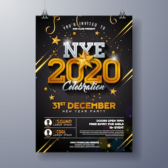 Illustrazione del modello del manifesto di celebrazione del partito di 2020 nuovi anni con il numero brillante dell'oro su fondo nero.