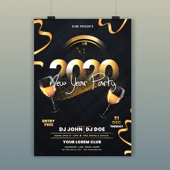 2020 new year party flyer with wall clock with glitter and wine glasses