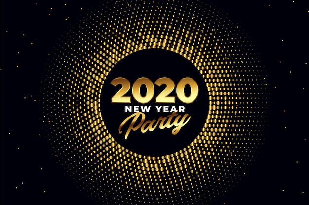 2020 new year party golden shiny greeting card design
