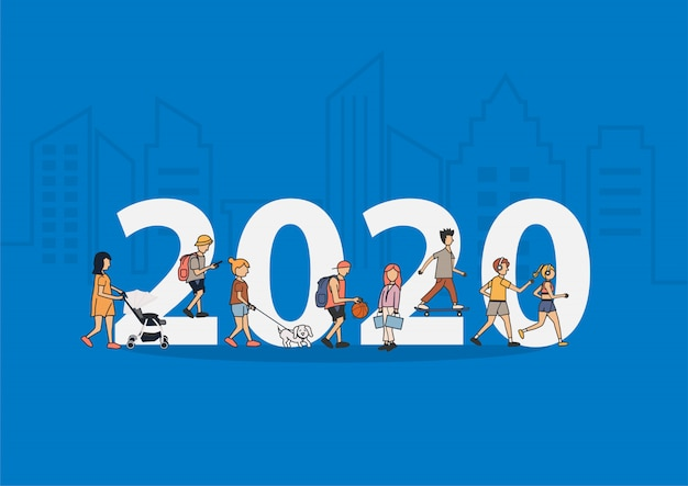 2020 new year people life style walking with flat big letters