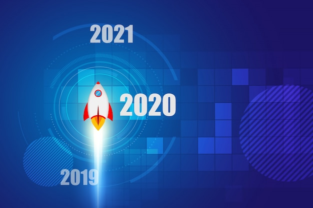 2020 new year. rocket on space