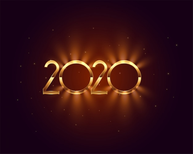 2020 new year shiny golden light card design