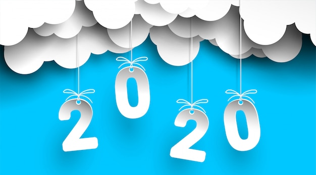 2020 new year  on sky  with clouds number in paper cut and craft style for your flyers, greetings and invitations cards.