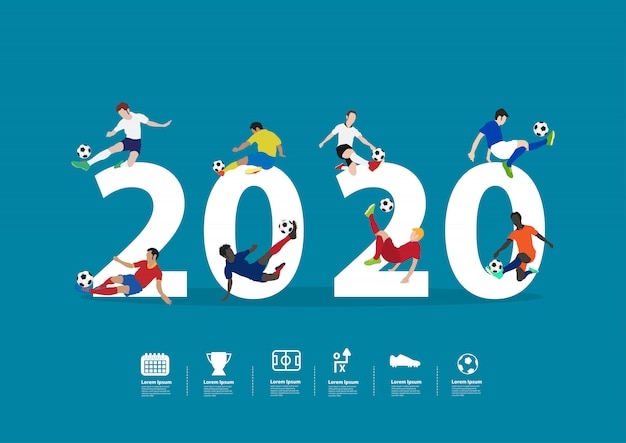 2020 new year soccer players in action on  flat big letters
