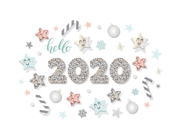 2020 new year template. christmas decorative elements.