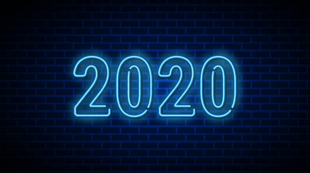 2020 new year text design template.
