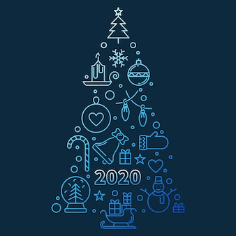 2020 новогодняя елка синий контур иллюстрации