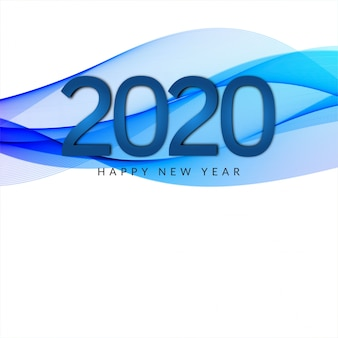 2020 new year wave style banner