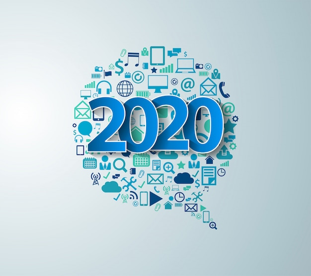 2020 new year with app elements technology business software