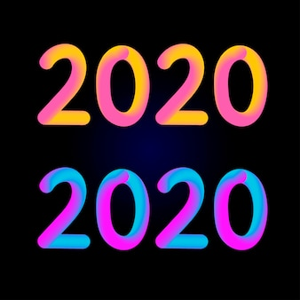 2020 number with fluid design style