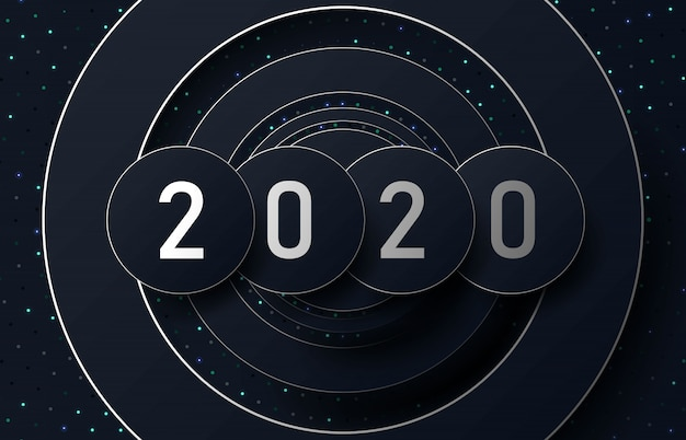 2020 numbers happy new year on a dark background