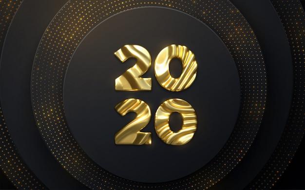 新年あけましておめでとうございます2020。休日nyeイベントサイン。 3 dイラスト。黄金の文字2020波状の彫刻パターン
