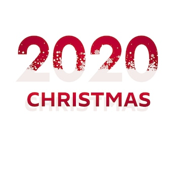 2020 red christmas typography design. winter season background with falling snow. christmas and new year poster.