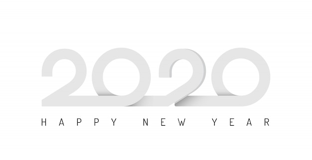 2020 ribbon lettering new year sign on winter holiday background
