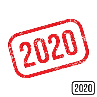 2020 rubber stamp with grunge texture