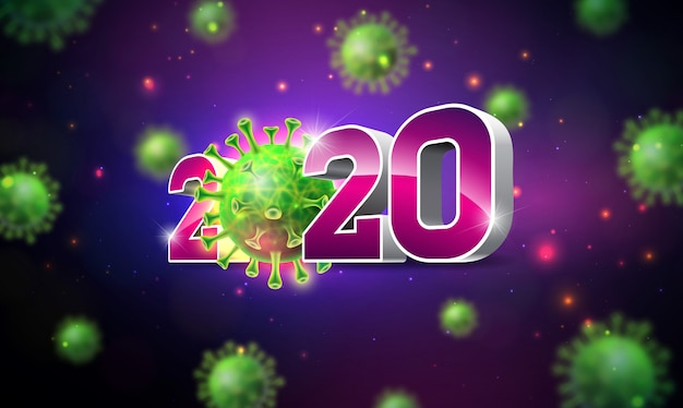 2020 stop coronavirus design with falling covid-19 virus cell
