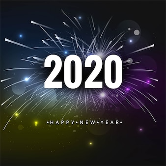 2020 text happy new year holiday vector card