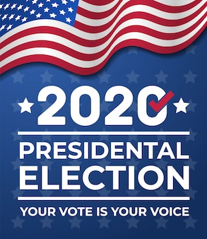2020 united states of america presidential election banner. election banner vote 2020 with american flag