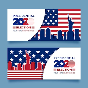 Collezione di banner per le elezioni presidenziali americane 2020