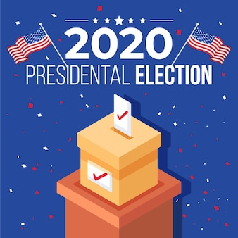 2020 us presidential election concept with ballot box and flags