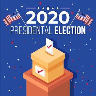 2020 concetto di elezioni presidenziali statunitensi con urne e bandiere