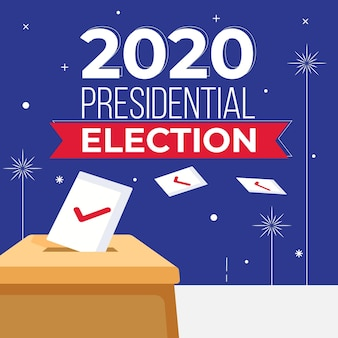 2020 us presidential election concept with ballot box