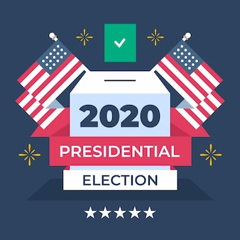 2020 us presidential election concept with flags