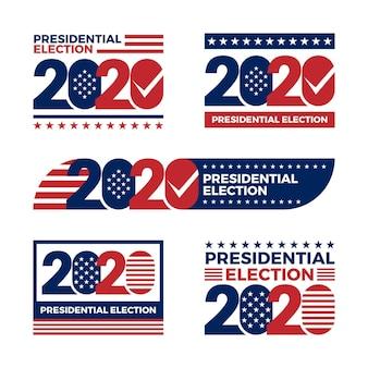 Collezione di loghi delle elezioni presidenziali americane 2020