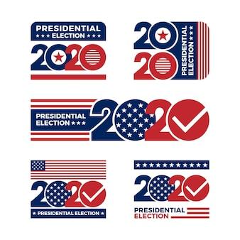 Set di loghi delle elezioni presidenziali americane del 2020