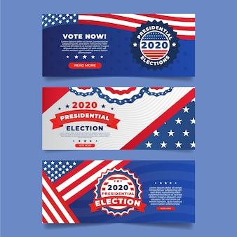 Set di banner di elezioni presidenziali usa 2020