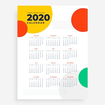2020 vertical new year calendar design in modern style