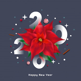 2020 with poinsettia flower background