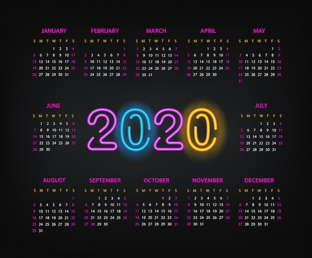 2020 year calendar template. two thousand twenty new year calendar