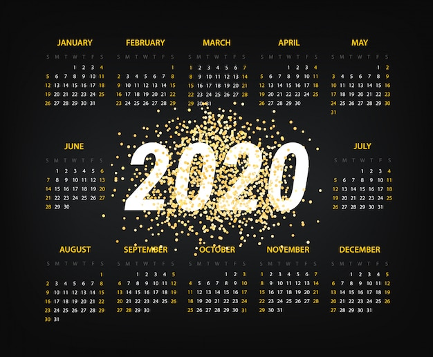 2020 year calendar template