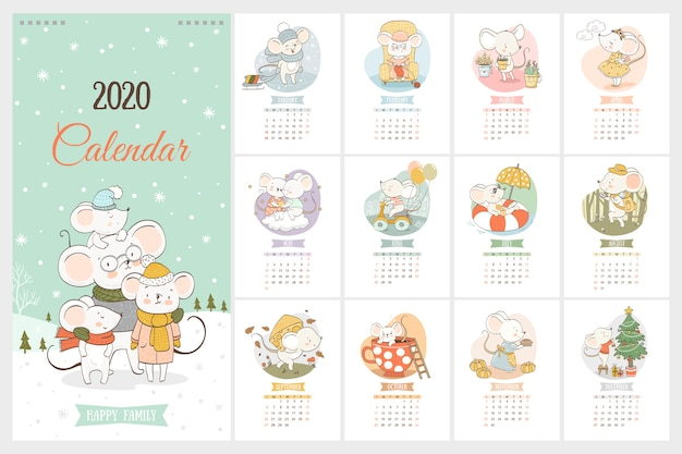 2020 year calendar with cute mice in cartoon hand drawn style