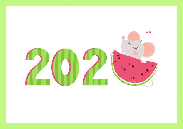 2020 year flat vector banner with mouse template