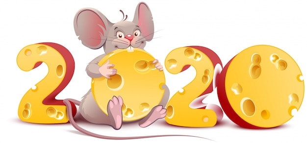 2020 year of mouse. cute cartoon rat holds cheese