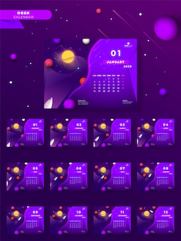 2020 yearly desk calendar  with universe and rocket on purple