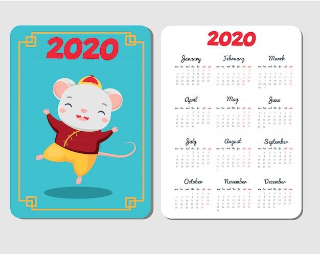 Шаблон календаря 2020 с мультипликационной мышью. китайский новый год с забавным танцевальным персонажем из крыс