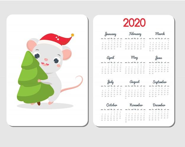 漫画のマウスを使って2020カレンダーテンプレート。面白いラットと中国の新年デザインは、トウヒの木を運ぶ