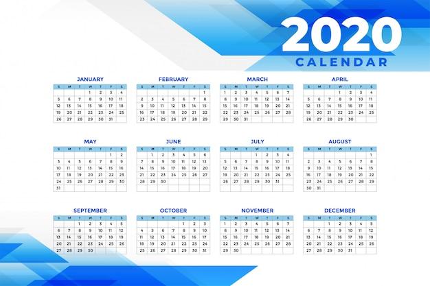 Абстрактный синий шаблон календаря 2020