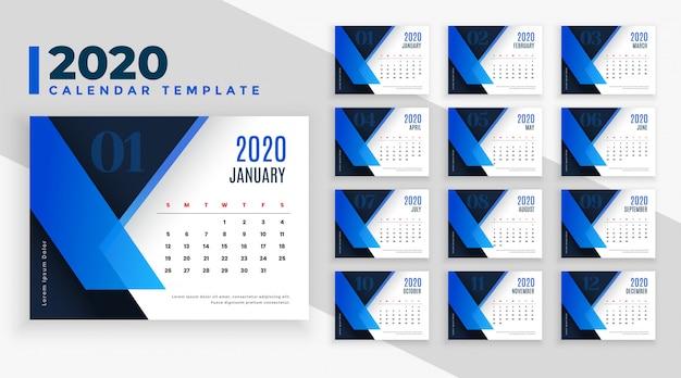 青をテーマにした2020ビジネススタイルカレンダーテンプレート