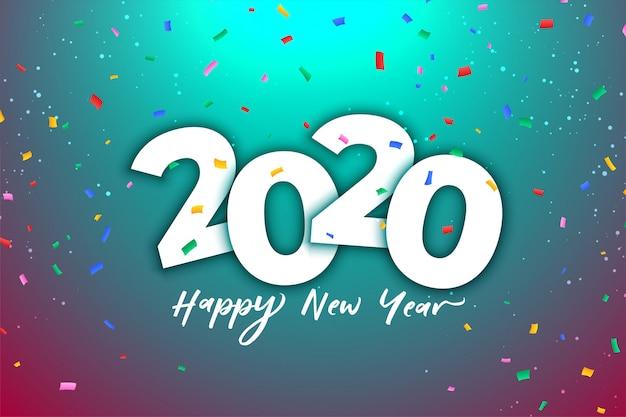 Празднование нового 2020 года с красочными конфетти