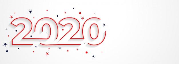 最小限の2020ラインスタイルの新年タイポグラフィ