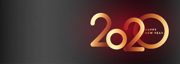 エレガントな2020年新年の美しいバナー