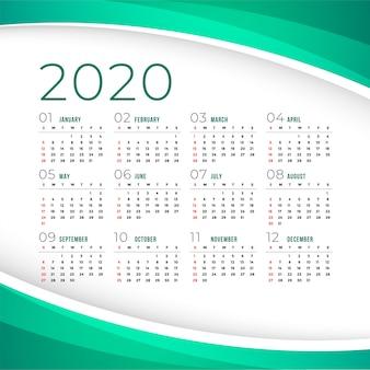エレガントな2020年カレンダーテンプレート