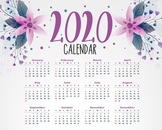 Шаблон календаря 2020 цветов